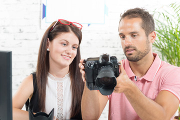 a girl learns photography
