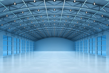Interior of an empty warehouse building, modern storehouse office in blue light