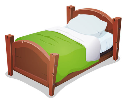 Wood Bed With Green Blanket