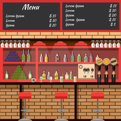 Interior of the bar with board menu