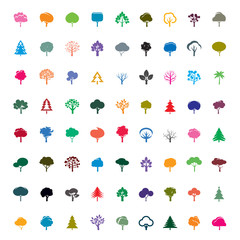 Collection of Color Trees. Vector symbol and icon.