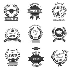 Graduation labels. High School and congratulations graduate logo
