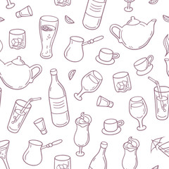 Seamless pattern with outline style drinks in vector. Beverages background for bar, menu or cafe design