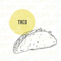 Illustration of hand drawn taco