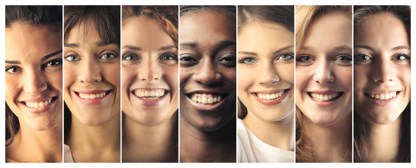Portraits of smiling women