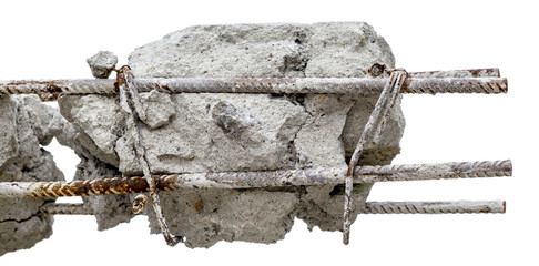 A steel rusty rods in concrete. Damaged concrete pillar isolated.