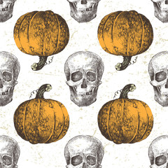 seamless pattern with pumpkin and skull