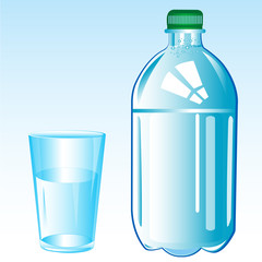 Mineral water and glass