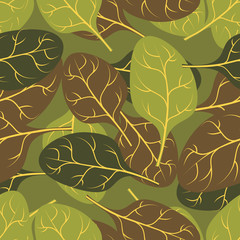 Military texture of  leaves Spinach. Camouflage army seamless pa