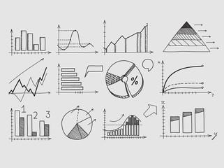 Hand draw doodle elements chart graph. Concept business finance