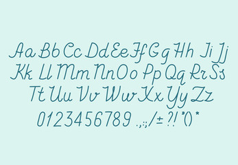 Hand drawin alphabet handwritting abc vector font. Italic type