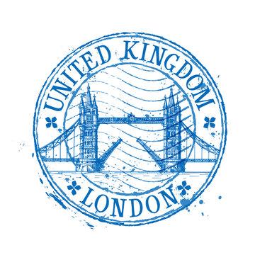 United Kingdom vector logo design template. stamp or England