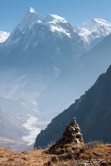 Fototapete - View of Langtang Valley with Mt. Sishapangma in the Background, Langtang, Bagmati, Nepal