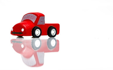 Old retro toy cars isolated on white background. Colorful object