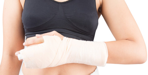 Woman in accident bone in finger broken from work out
