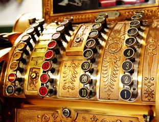antique store cash register buttons close