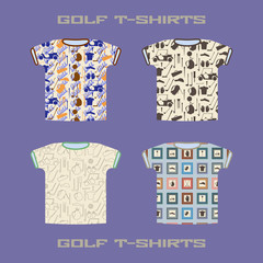 Golf t-shirt collection. Design template seamless background set. Endless texture samples included.