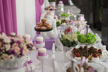 Dessert table for a wedding party. Candy bar