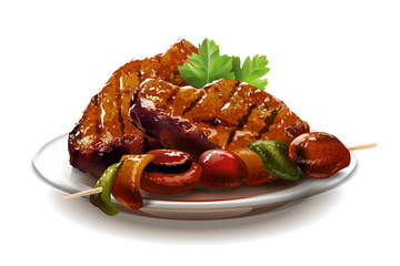 Barbecue. Meat with vegetables