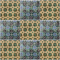 Fotomurales - Background collage. Ceramic tile, museum Azulejo, Lisbon, Portug