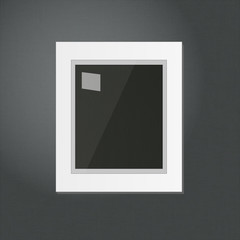 White Frame Template Hanging on a Black Wall EPS10