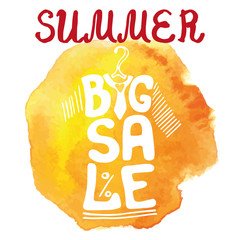 Summer big Sale lettering.Tee Shirt,watercolor yellow splash