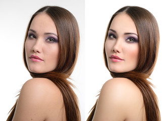Portrait of beautiful girl before and after retouching. Aging an