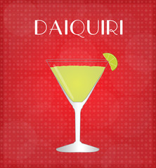 Drinks List Daiquiri with Red Background EPS10