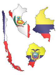 South America Maps with Flags 2 EPS 10
