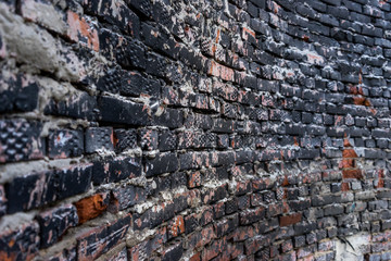 Grunge curved brick wall