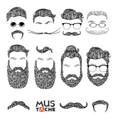 Mustache Beard and Hair Style Set. Hipster