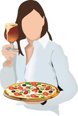 ragazza con birra e pizza