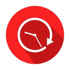 Icono redondo horario con sombra rojo
