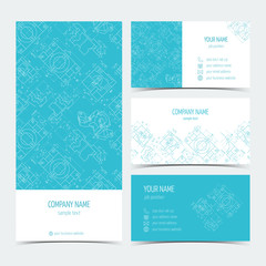 Set of engineering business cards, flyers, leaflets with the drawings. Blue color. Vector
