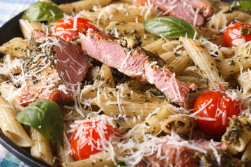 penne pasta with meat and pesto macro on a plate. horizontal