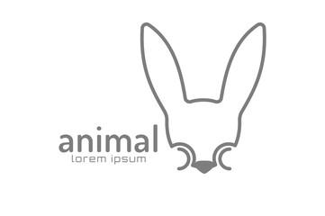 Abstract animal face logo vector template. Rabbit, wild world