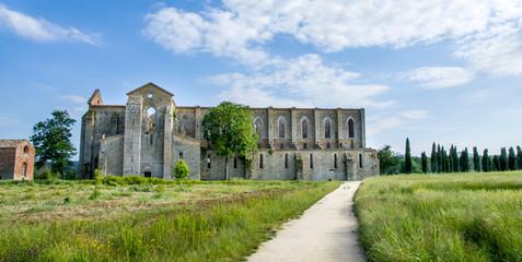San Galgano Church ruins in Siena (Tuscany - Italy)