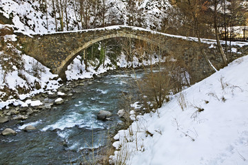 Romanesque bridge in La Margineda. Principality of Andorra