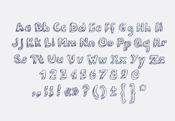 Hand drawn alphabet letters doodle scribble childrens abc