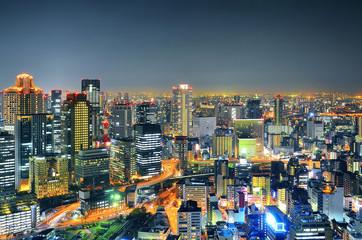 Panoramic view Osaka at night, Japan