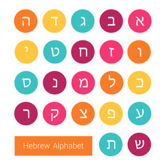 Hebrew alphabet on colorful round icons