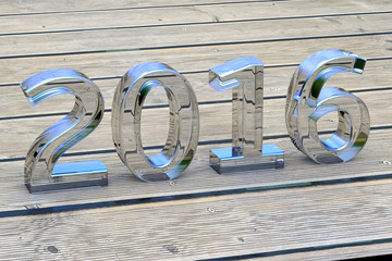 New year 2016 Glass Font - 3d Render
