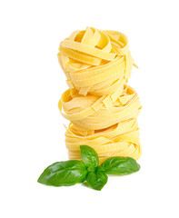 italian pasta tagliatelle isolated on white