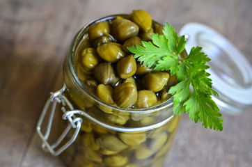Capers in a jar.
