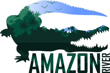 vector jungle illustration with black caiman