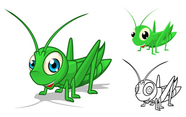 High Quality Detailed Grasshopper Cartoon Character with Flat Design and Line Art Black and White Version Vector Illustration