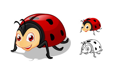 High Quality Detailed Ladybug Cartoon Character with Flat Design and Line Art Black and White Version Vector Illustration