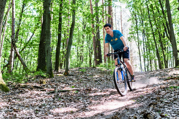 Man on mountain bike bicycle