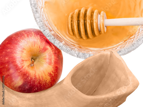"""Jewish New Year holiday shofar apple and honey isolated ..."