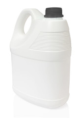 white gallon and black color cap plastic on white background inc